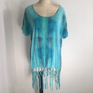 Turquoise multicolored top